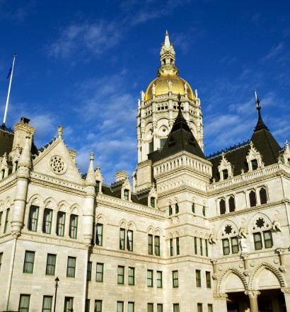 Connecticut state capitol building in Victorian Gothic style