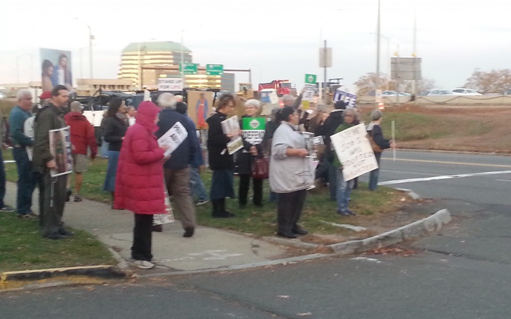 Pro-lifers at Long Wharf Theatre with I-95 in the background